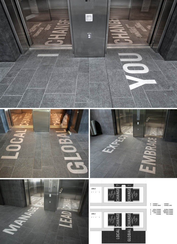 installation, Foster School of Business, Kristine Matthews, Karen Cheng, Type floor in elevator