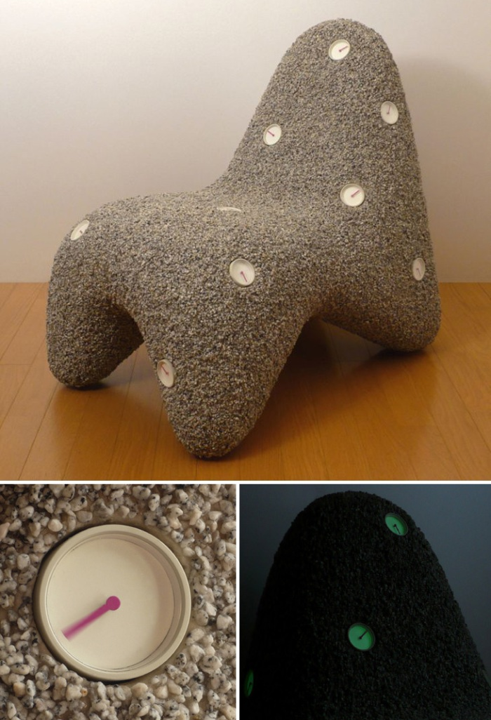 Contemporary stone chair, embedded clocks, contemporary furniture, japanese design