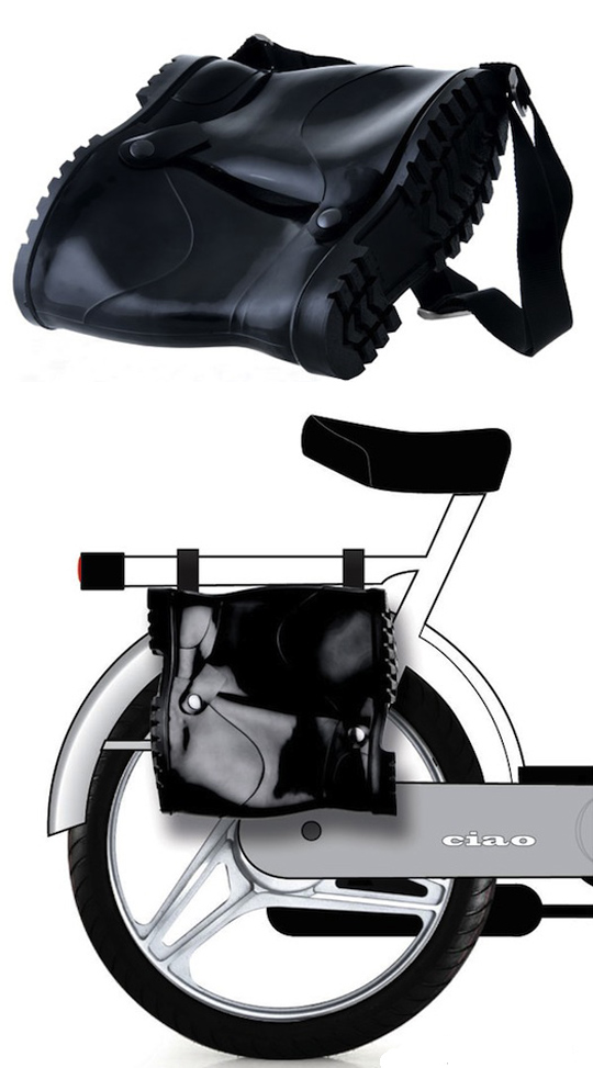 Rubber boot shoulder bag by Marco Scuderi, fun design, messenger bag, bike bag