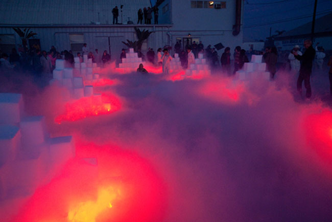 Sublime Environment, art installation, dry ice and flares, cool art, Art Los Angeles Contemporary 2012