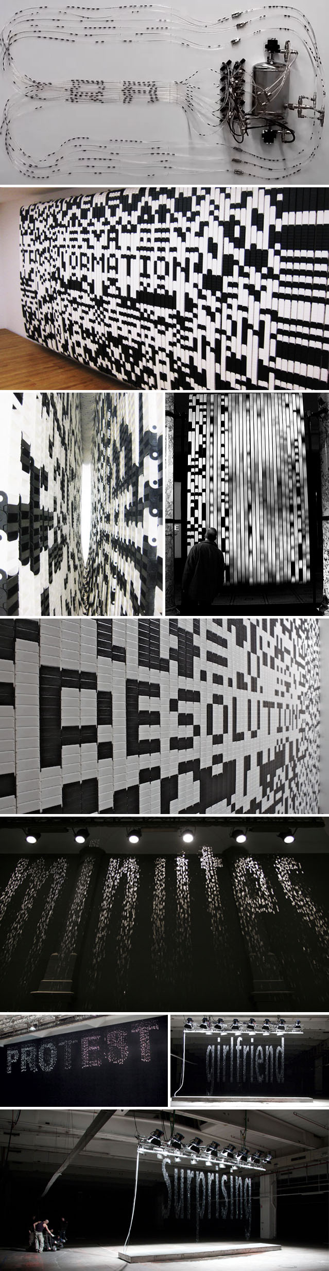 Bit.Fall, Bit.code, technology and art, code, waterfall with type and images, contemporary art