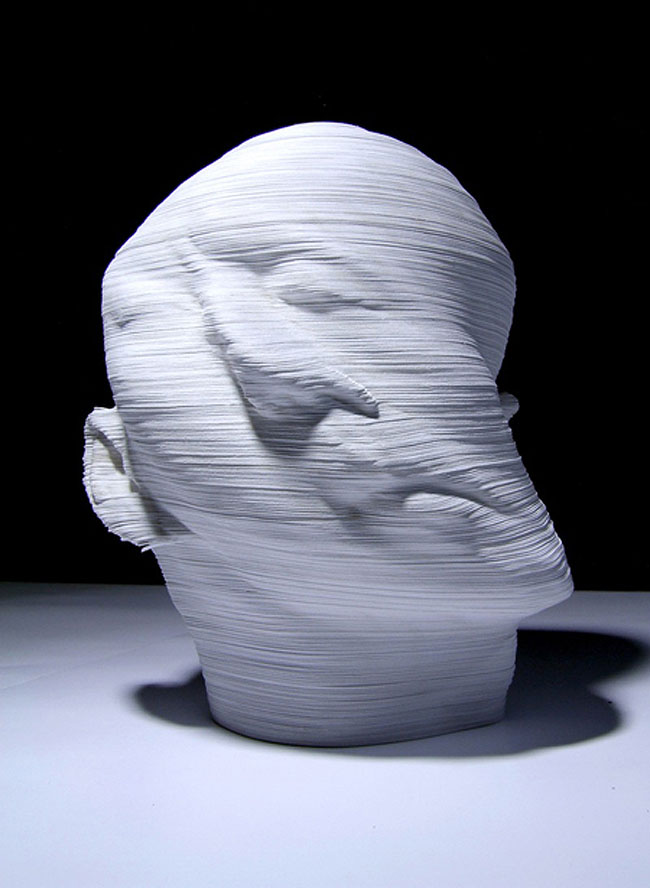 Amazing paper sculpture of heads, topographic, Chinese contemporary art, rotated head