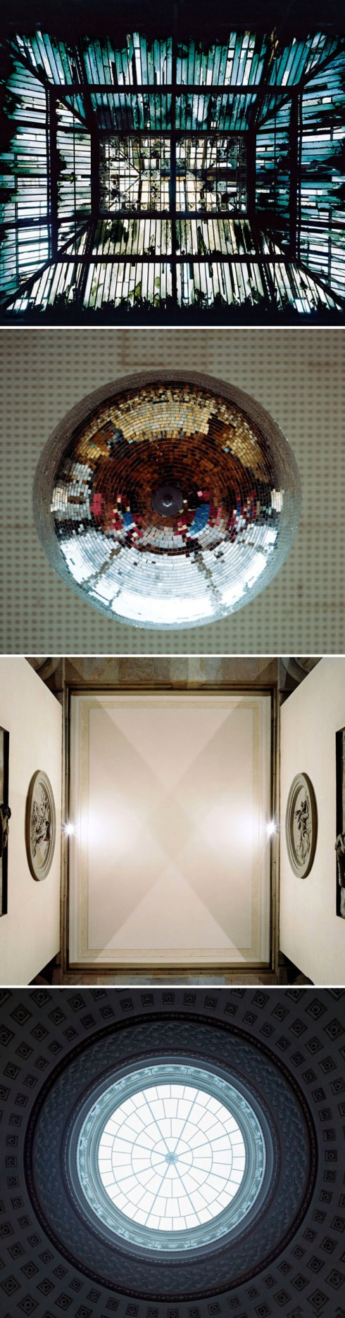 ceiling light, projected photo, illuminated photo of church dome, skylight, disco ball