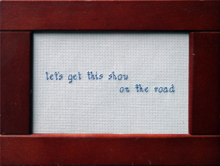 Embroidered words, cliches, expressions, humor, art, tumblr, stitched words