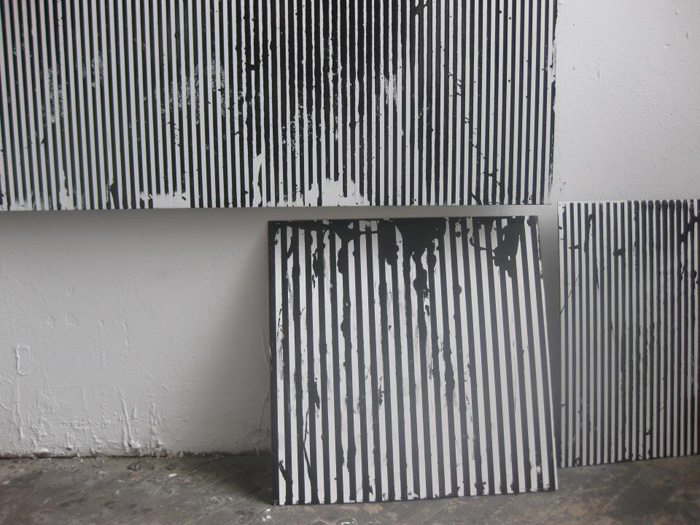 Optical Paintings, black and white line paintings, enamel on aluminum, geometric abstraction paintings