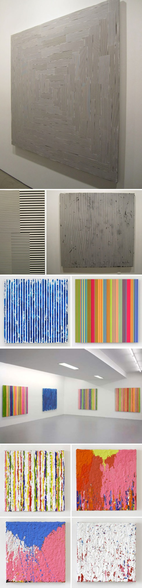 Optical Paintings, black and white line paintings, enamel on aluminum, geometric abstraction paintings, Gering & Lopez