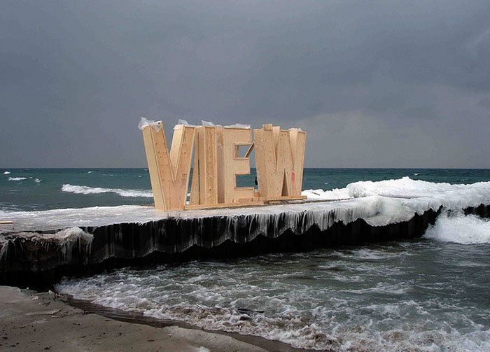 Ice Typography, letters, Typography installations, Environmental Art, Vancouver, collabcubed