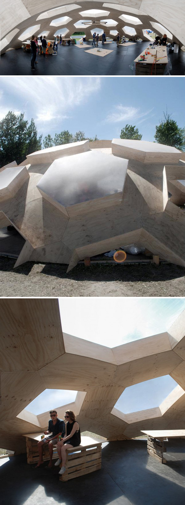 plywood dome, cool architecture, hexagonal structure, Festival structure, Danish design