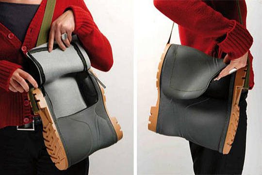 Rubber boot shoulder bag by Marco Scuderi, fun design, messenger bag