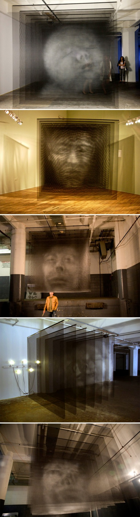 Sculpture, multi-screen, multi-dimensional heads, mesh sheets, Brooklyn artist