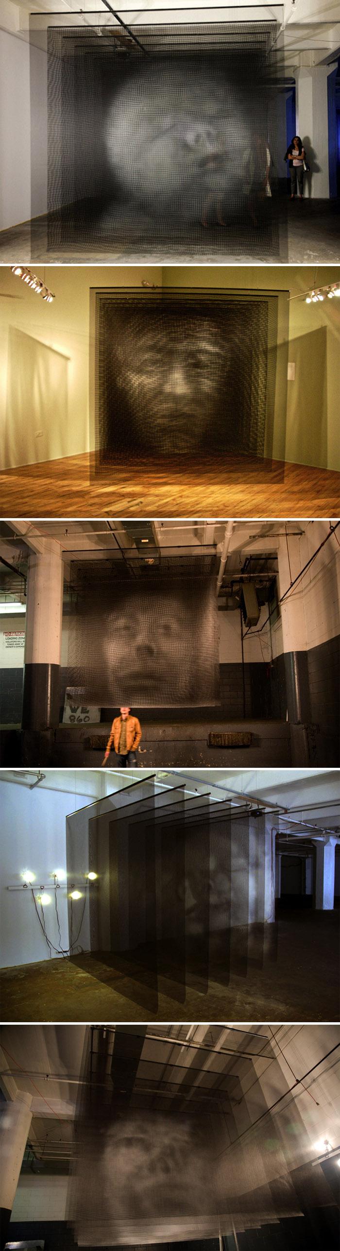 Sculpture, multi-screen, multi-dimensional heads, mesh sheets, Brooklyn artist