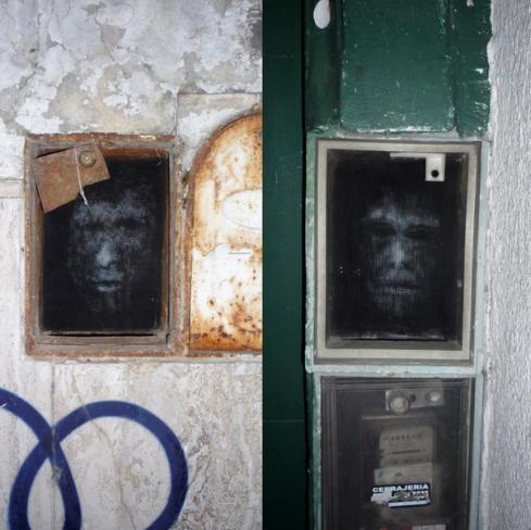 Sculpture, multi-screen, multi-dimensional heads, Buenos Aires street art