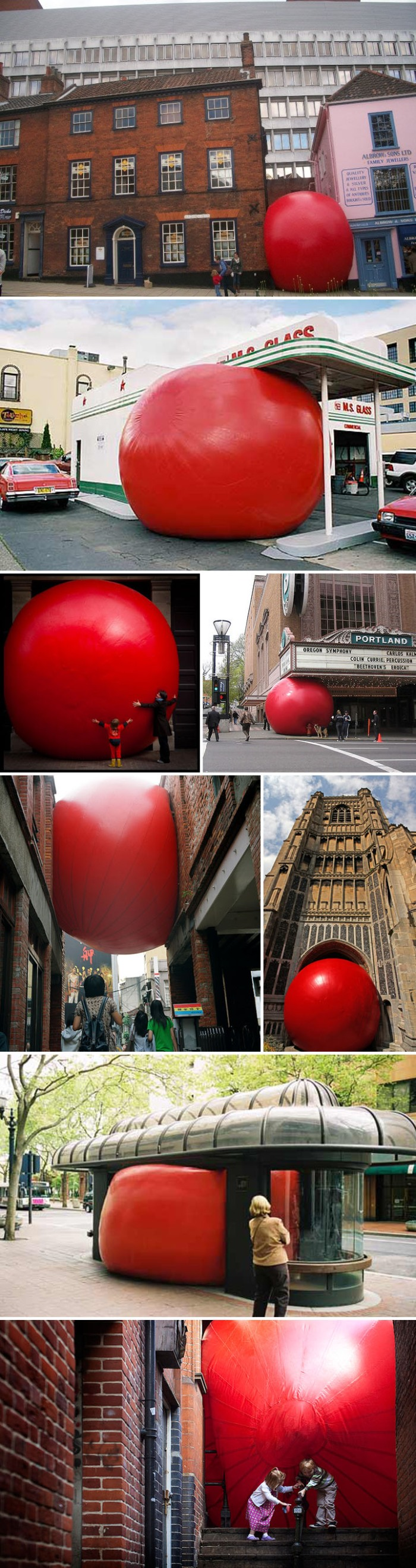 Interactive art, Large Red ball placed in different cities around the world, Fun art installation