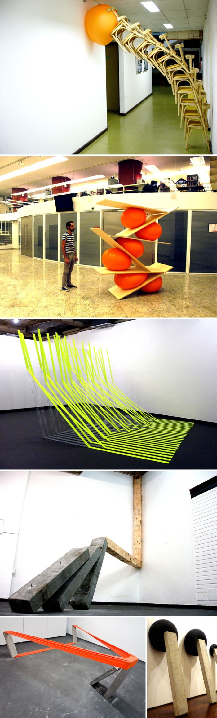 Brazilian contemporary sculpture, installation, balancing, balloons, concrete
