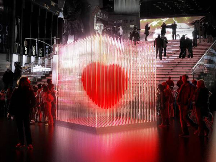 Times Square, BIG Heart, Bjarke Ingels Group, Art Installation, cool, Light installation