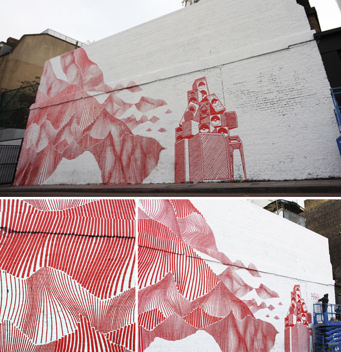 Australian street artist, Buff Diss, taped graffiti, red stripe mural, london