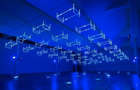 Light Installations, black light, upside down beds, beds, cool art installation, Contemporary art, collabcubed