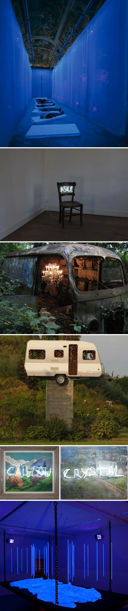 Light installations, neon, cool contemporary art, lumen, trailer trucks with lights, collabcubed