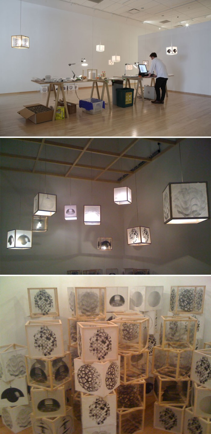 Lamps, copies, make-your-own, DIY, classic lamps copied onto wooden cube frames