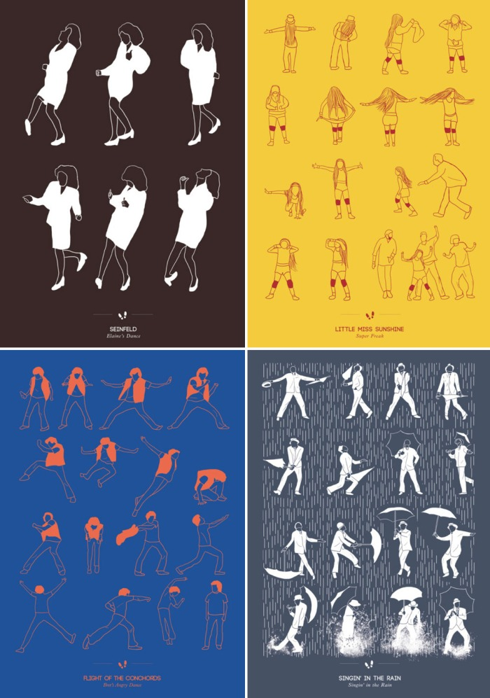 Illustration, Prints, Dance Steps, niege borges, fun posters, Seinfeld, Singing in the rain, Little Miss Sunshine