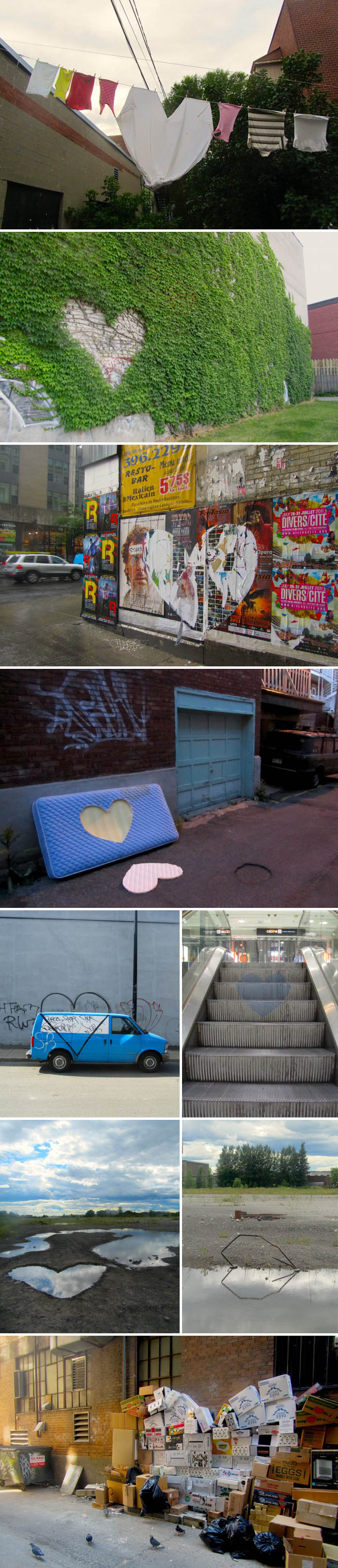 Street art, hearts, dead hearts, valentine's day, graffiti, photography, Roadsworth, Montreal