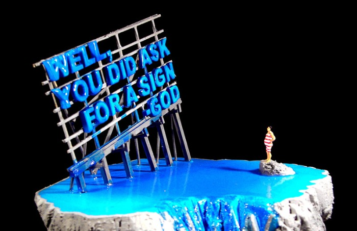 Humorous Church sign slogan inspired contemporary sculpture, Dmitris Polychroniadis, collabcubed