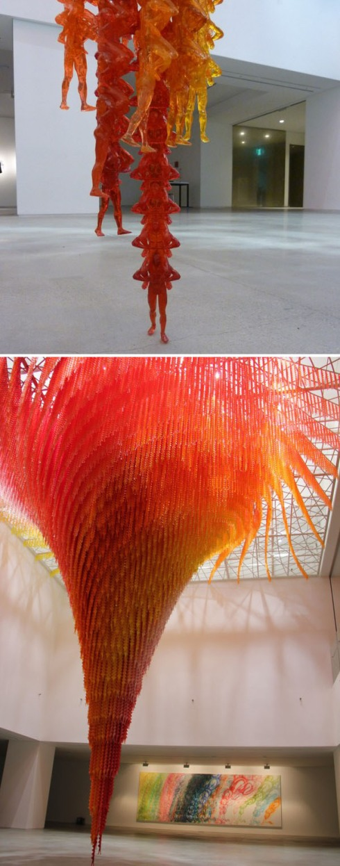 Cool art installation, Korean Contemporary Art, little plastic men, Tornado_Cause and Effect Do Ho Suh