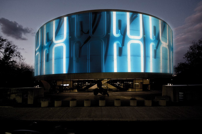 Hirshhorn Museum, 360 degree exterior projections, cool installation, video, collabcubed