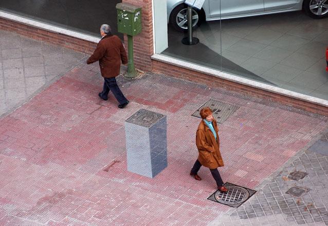 Street art, Madrid, e1000, 3d pedestal, graffiti, collabcubed