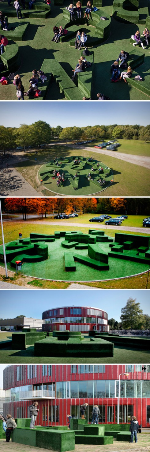 art installation, typography garden, Twents Carmel College outdoor seating structure in Oldenzaal, The Netherlands
