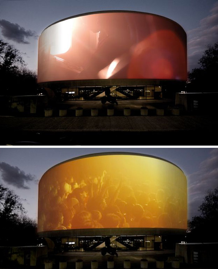 Doug Aitken, Hirshhorn Museum, 360 degree exterior projections, cool installation, video, collabcubed