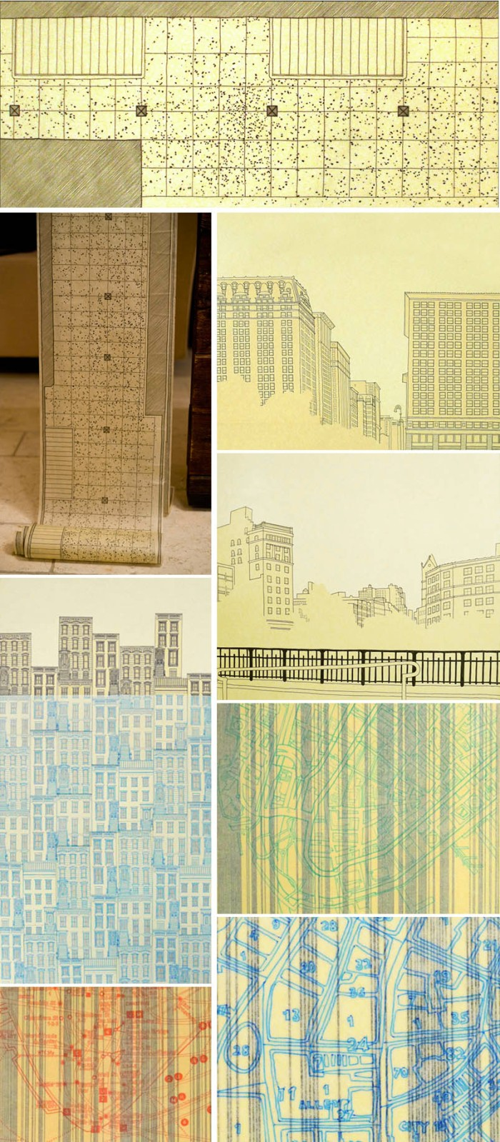 NYC, Drawings, Union Square, Architectural style drawings, contemporary art