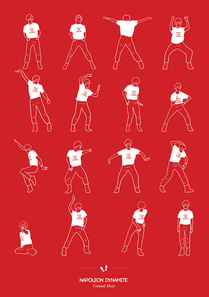 Illustration, Prints, Dance Steps, niege borges, fun posters, Napoleon Dynamite