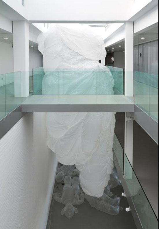 interactive, inflatable sculpture, plastic bag installation, Art from Spain, Mustang Gallery