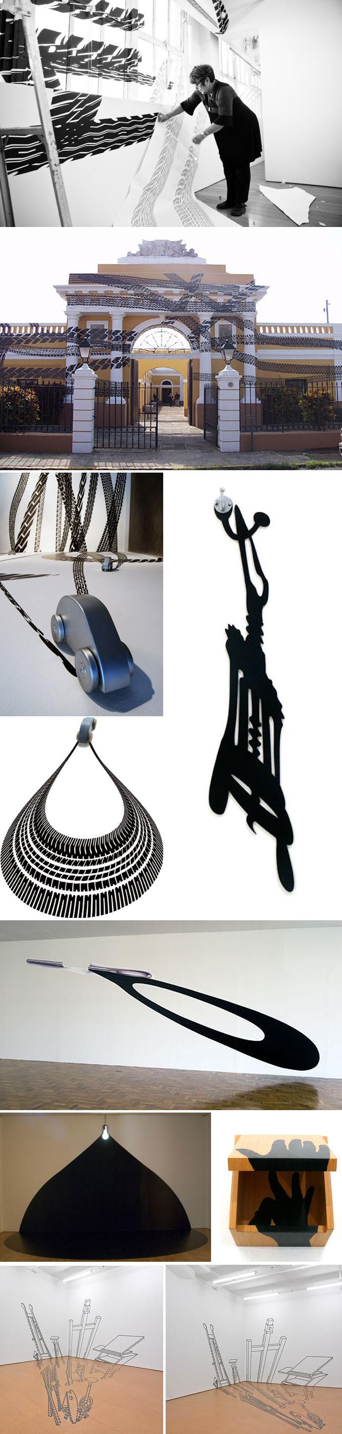 Car tracks application, art installation, Octopus series, contemporary Brazilian art, cut vinyl, perspective