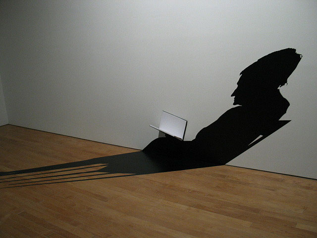 Shadow application, art installation, contemporary Brazilian art, cut vinyl, perspective