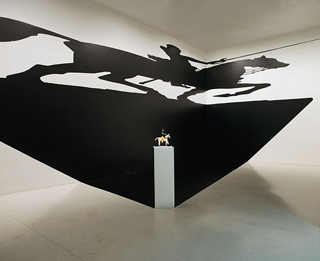 Shadow illusion installation, contemporary Brazilian art, cut vinyl, perspective