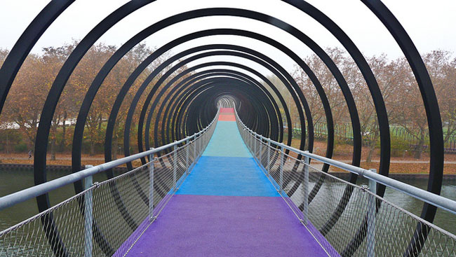 Slinky Bridge, New Bridge over Rhine_Herne Canal, Germany, in style of Slinky toy, collabcubed