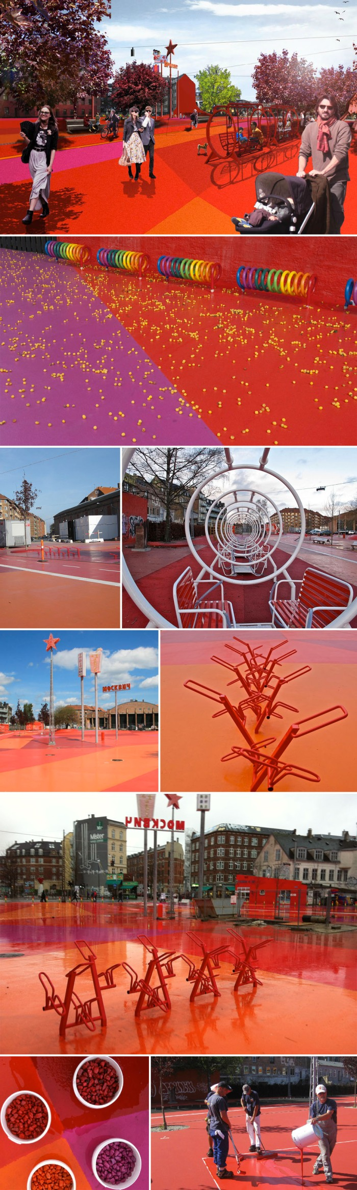 Park, playground, copenhagen, colorful park, Red Square, multicultural, bike path