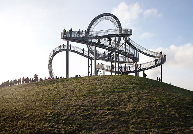 walkable rollercoaster, interactive sculpture, Heike Mutter, Ulrich Genth, Duisberg, Germany
