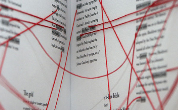 Book design, Typography, embroidered hyperlinks, typographic facts, Talk to Me, MoMA