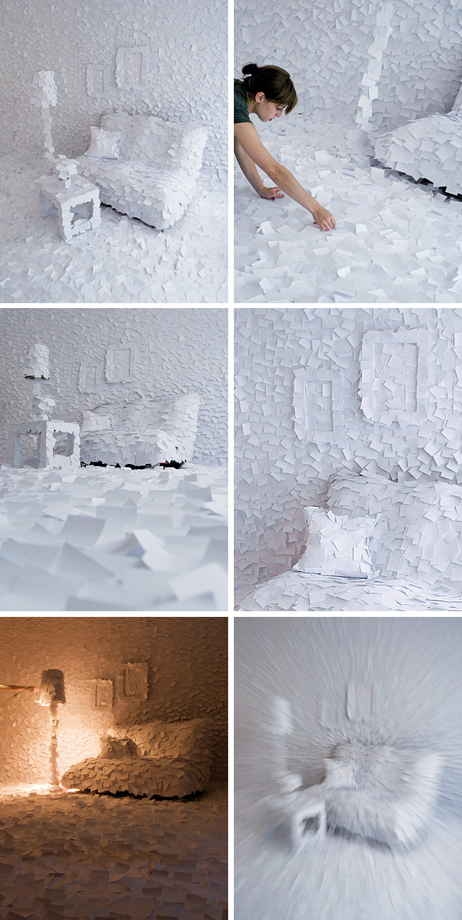 cool post-it installation, post-its, paper, art installation, Winter 1972 Perfume, collabcubed