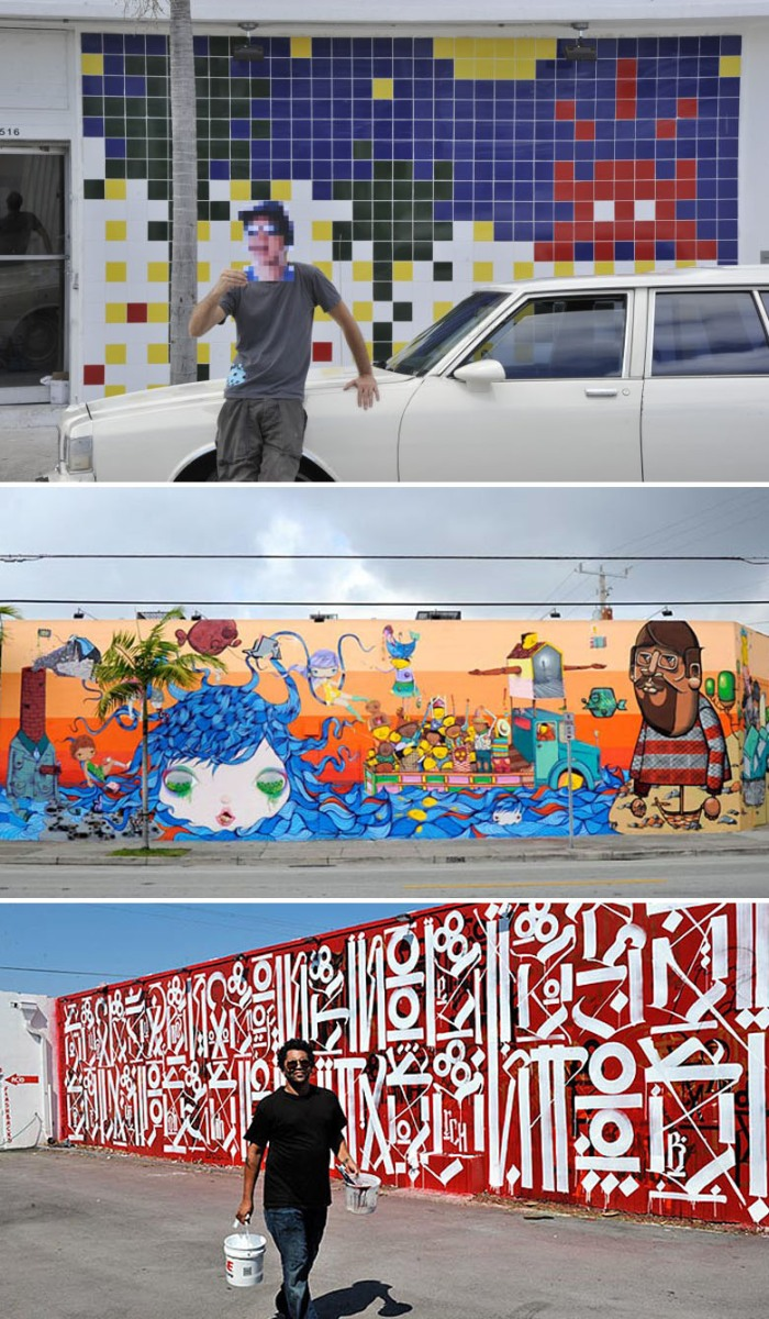 Graffiti, Street art, Jeffrey Deitch, Tony Goldman, artists paint murals on walls in Miami Florida
