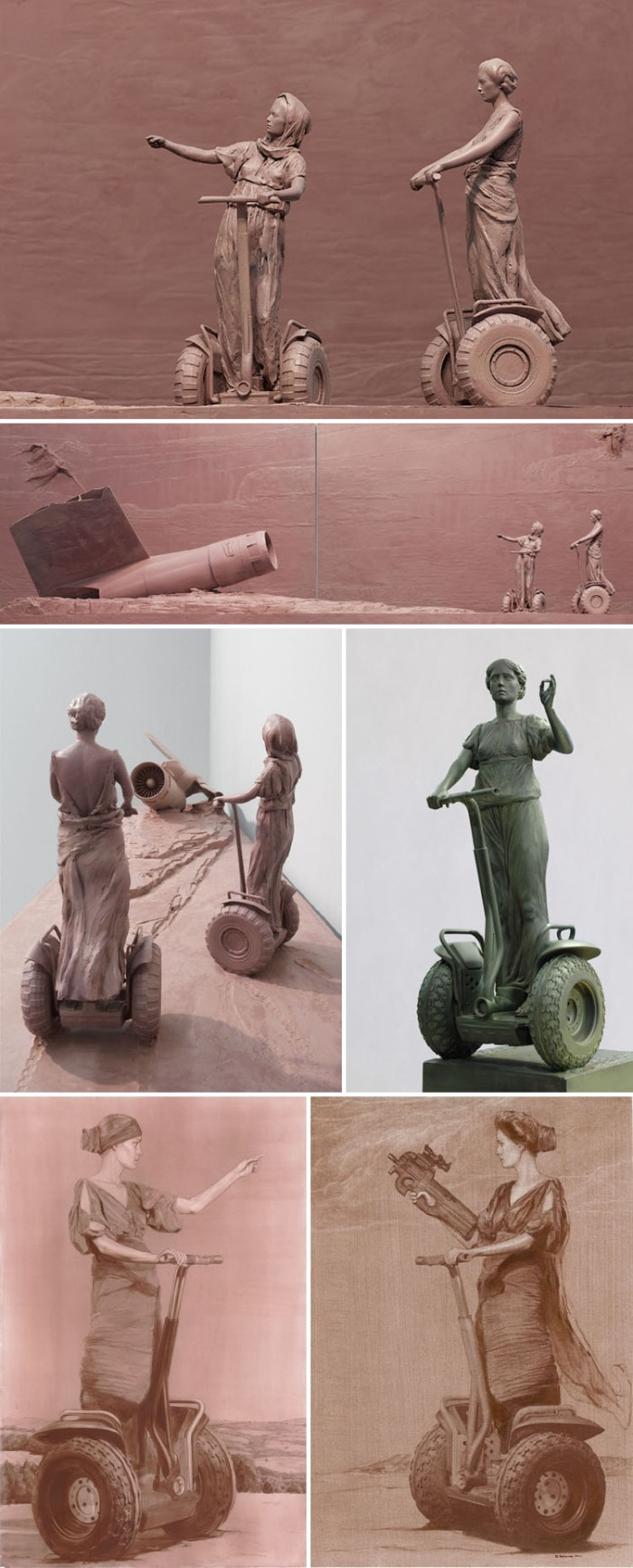 Russian Contemporary art, modernized classic sculpture, Bronze statues, Sepia sketches, Hellenic figures on scooters, Morozov, Praetoria, collabcubed