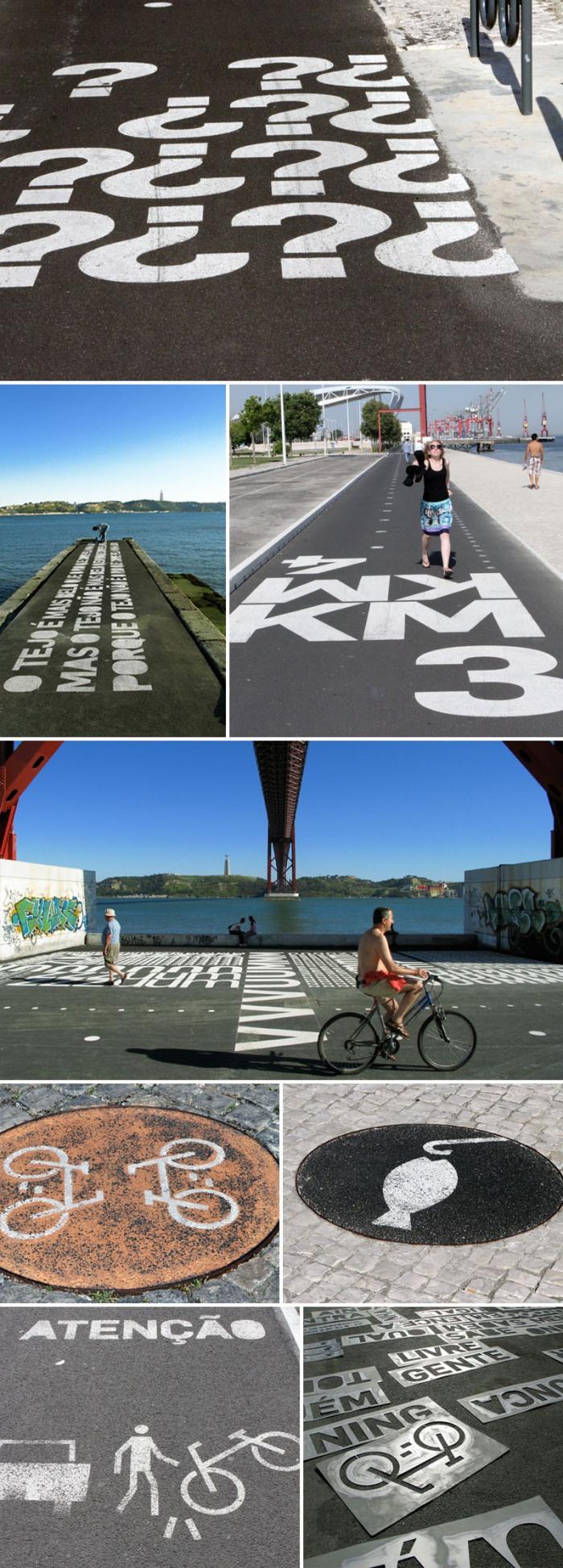 Bikeway Belém, Lisbon, Portugal, Typographic bike routes, wayfinding, symbols, collabcubed