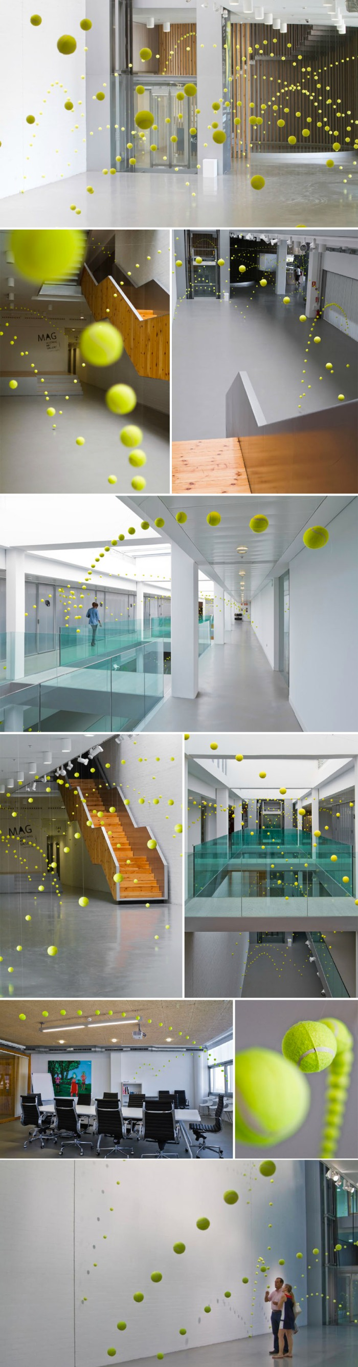 art installation, tennis balls, fun, contemporary art in spain, cool installation, collabcubed