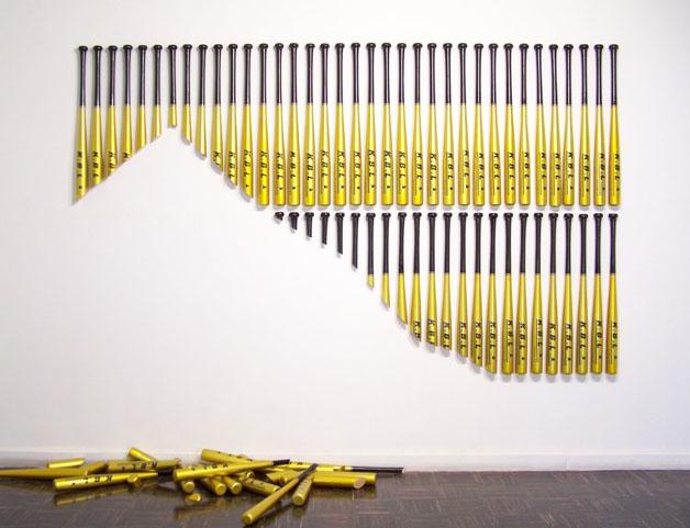 baseball bats in art, guatemalen art, fun art installation, sports gear, collabcubed