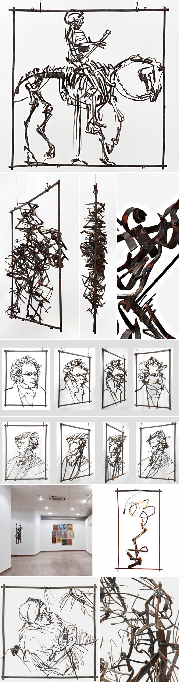 Iron sculptures of Rembrandt Drawings, Russian Contemporary art, metal works, composers. collabcubed