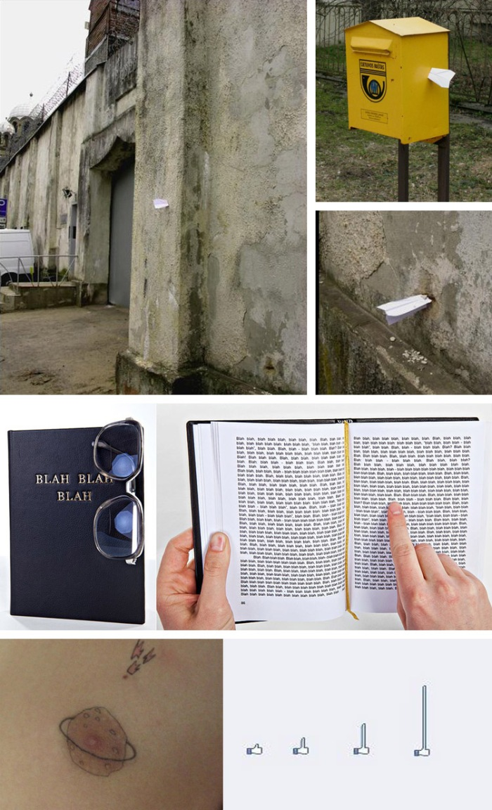 Street art in Lithuania, Clever concepts, humor, Book with Blah, blah, blah...