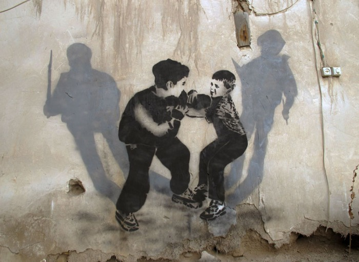 Graffiti, street art, stencil art, Iran, political, war, icy and sot, collabcubed